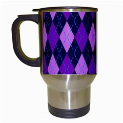 Static Argyle Pattern Blue Purple Travel Mugs (white) by Nexatart