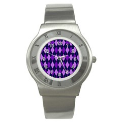Static Argyle Pattern Blue Purple Stainless Steel Watch