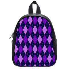 Static Argyle Pattern Blue Purple School Bags (small)  by Nexatart