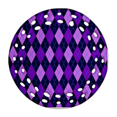 Static Argyle Pattern Blue Purple Round Filigree Ornament (two Sides) by Nexatart