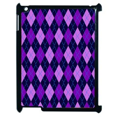 Static Argyle Pattern Blue Purple Apple Ipad 2 Case (black) by Nexatart