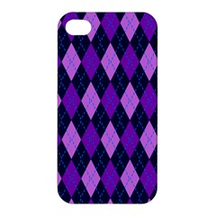 Static Argyle Pattern Blue Purple Apple Iphone 4/4s Hardshell Case by Nexatart