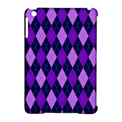 Static Argyle Pattern Blue Purple Apple Ipad Mini Hardshell Case (compatible With Smart Cover) by Nexatart