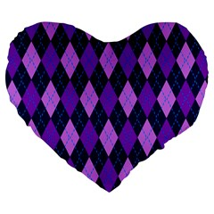 Static Argyle Pattern Blue Purple Large 19  Premium Heart Shape Cushions