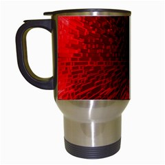Box Lights Red Plaid Travel Mugs (white) by Mariart