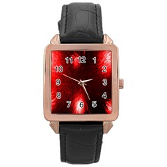 Box Lights Red Plaid Rose Gold Leather Watch  by Mariart