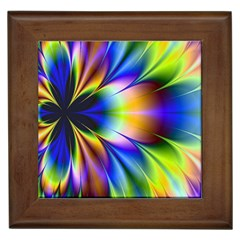 Bright Flower Fractal Star Floral Rainbow Framed Tiles