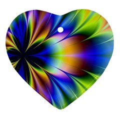 Bright Flower Fractal Star Floral Rainbow Ornament (heart) by Mariart