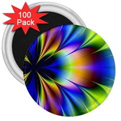 Bright Flower Fractal Star Floral Rainbow 3  Magnets (100 Pack) by Mariart