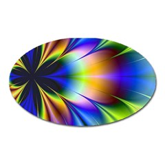 Bright Flower Fractal Star Floral Rainbow Oval Magnet by Mariart