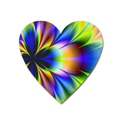 Bright Flower Fractal Star Floral Rainbow Heart Magnet by Mariart