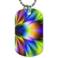Bright Flower Fractal Star Floral Rainbow Dog Tag (two Sides) by Mariart