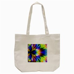 Bright Flower Fractal Star Floral Rainbow Tote Bag (cream) by Mariart
