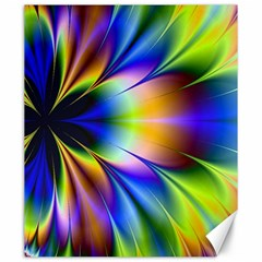 Bright Flower Fractal Star Floral Rainbow Canvas 20  X 24   by Mariart