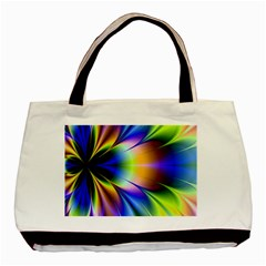 Bright Flower Fractal Star Floral Rainbow Basic Tote Bag (two Sides) by Mariart