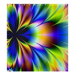 Bright Flower Fractal Star Floral Rainbow Shower Curtain 66  X 72  (large)  by Mariart