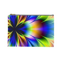 Bright Flower Fractal Star Floral Rainbow Cosmetic Bag (large)
