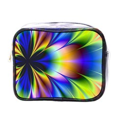 Bright Flower Fractal Star Floral Rainbow Mini Toiletries Bags by Mariart