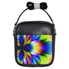 Bright Flower Fractal Star Floral Rainbow Girls Sling Bags by Mariart