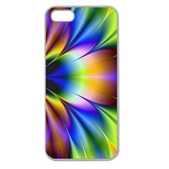 Bright Flower Fractal Star Floral Rainbow Apple Seamless Iphone 5 Case (clear) by Mariart