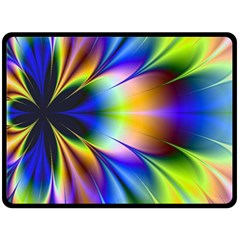 Bright Flower Fractal Star Floral Rainbow Double Sided Fleece Blanket (large)