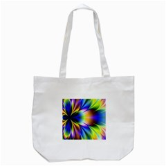 Bright Flower Fractal Star Floral Rainbow Tote Bag (white) by Mariart