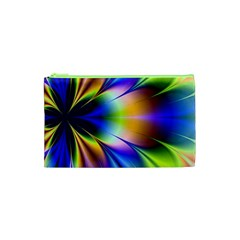Bright Flower Fractal Star Floral Rainbow Cosmetic Bag (xs) by Mariart