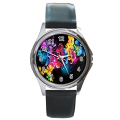 Abstract Patterns Lines Colors Flowers Floral Butterfly Round Metal Watch by Mariart