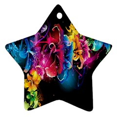 Abstract Patterns Lines Colors Flowers Floral Butterfly Ornament (star)