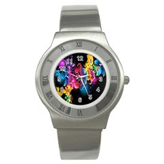Abstract Patterns Lines Colors Flowers Floral Butterfly Stainless Steel Watch by Mariart