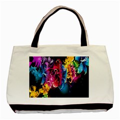 Abstract Patterns Lines Colors Flowers Floral Butterfly Basic Tote Bag by Mariart