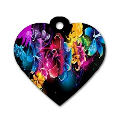 Abstract Patterns Lines Colors Flowers Floral Butterfly Dog Tag Heart (two Sides) by Mariart