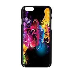 Abstract Patterns Lines Colors Flowers Floral Butterfly Apple Iphone 6/6s Black Enamel Case