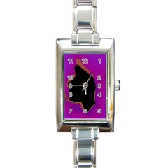 Buffalo Fractal Black Purple Space Rectangle Italian Charm Watch by Mariart