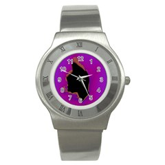 Buffalo Fractal Black Purple Space Stainless Steel Watch by Mariart