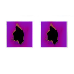 Buffalo Fractal Black Purple Space Cufflinks (square) by Mariart