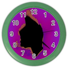 Buffalo Fractal Black Purple Space Color Wall Clocks by Mariart