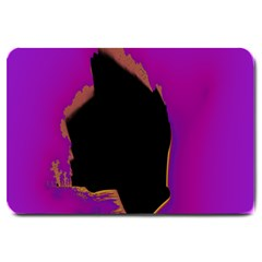 Buffalo Fractal Black Purple Space Large Doormat  by Mariart