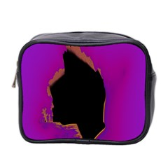 Buffalo Fractal Black Purple Space Mini Toiletries Bag 2 Side by Mariart