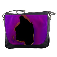 Buffalo Fractal Black Purple Space Messenger Bags by Mariart