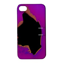 Buffalo Fractal Black Purple Space Apple Iphone 4/4s Hardshell Case With Stand by Mariart