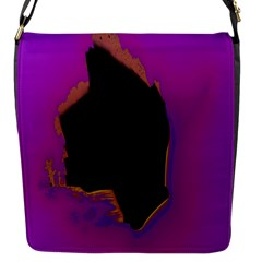 Buffalo Fractal Black Purple Space Flap Messenger Bag (s) by Mariart