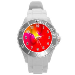 Complex Orange Red Pink Hole Yellow Round Plastic Sport Watch (l) by Mariart