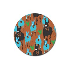 Zebra Horse Animals Magnet 3  (round) by Mariart