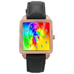 Complex Orange Red Pink Hole Yellow Green Blue Rose Gold Leather Watch  by Mariart