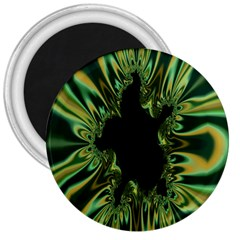 Burning Ship Fractal Silver Green Hole Black 3  Magnets by Mariart