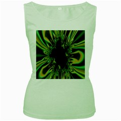 Burning Ship Fractal Silver Green Hole Black Women s Green Tank Top by Mariart