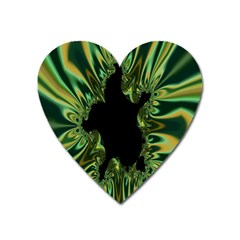 Burning Ship Fractal Silver Green Hole Black Heart Magnet by Mariart