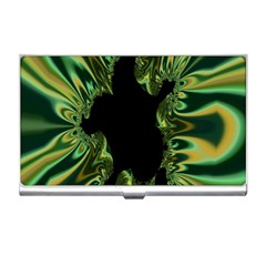 Burning Ship Fractal Silver Green Hole Black Business Card Holders by Mariart