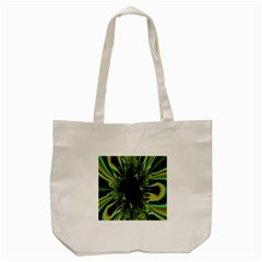 Burning Ship Fractal Silver Green Hole Black Tote Bag (cream) by Mariart